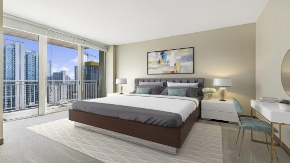 Main bedroom at Flair Tower Apartments, River North, Chicago