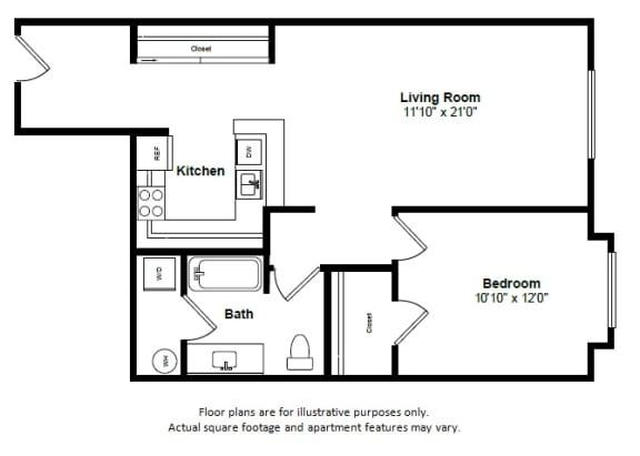 Floor Plan  Key Largo floor plan at Tera Apartments, Kirkland, WA