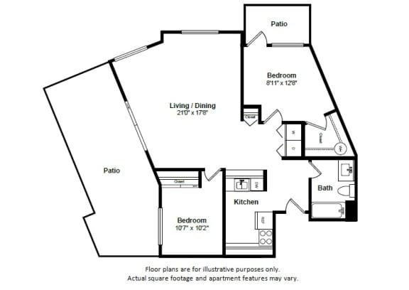 Floor Plan  Miami floor plan at Tera Apartments, Kirkland, Washington