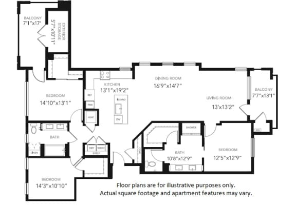 PH1 Three Bedroom Two Bath Penthouse Floor Plan at Blu Harbor by Windsor, 1 Blu Harbor Blvd, CA