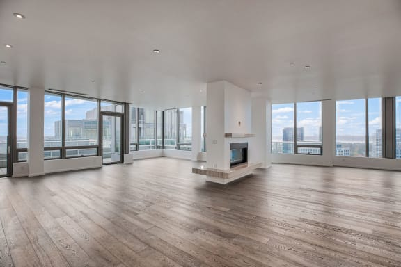 Penthouse fireplace at The Bravern, 688 110th Ave NE, WA