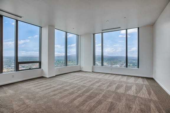 Penthouse bedroom with carpet at The Bravern, Bellevue, WA