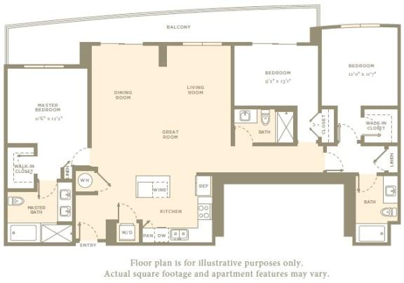 PH4 Floor Plan at Amaray Las Olas by Windsor, FL, 33301