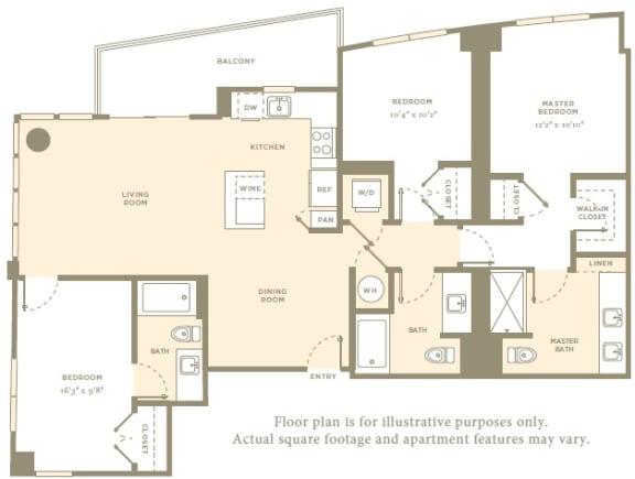 PH6 Floor Plan at Amaray Las Olas by Windsor, Fort Lauderdale, Florida