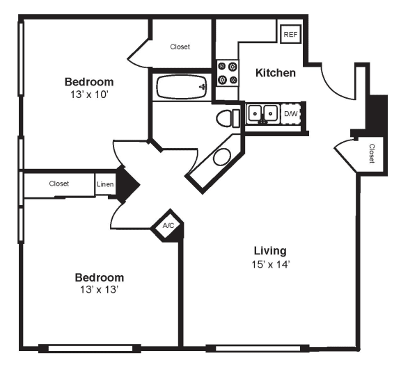 Floor Plan  C1_Dimension_V3 Floor Plan at Renaissance Tower, Los Angeles, CA