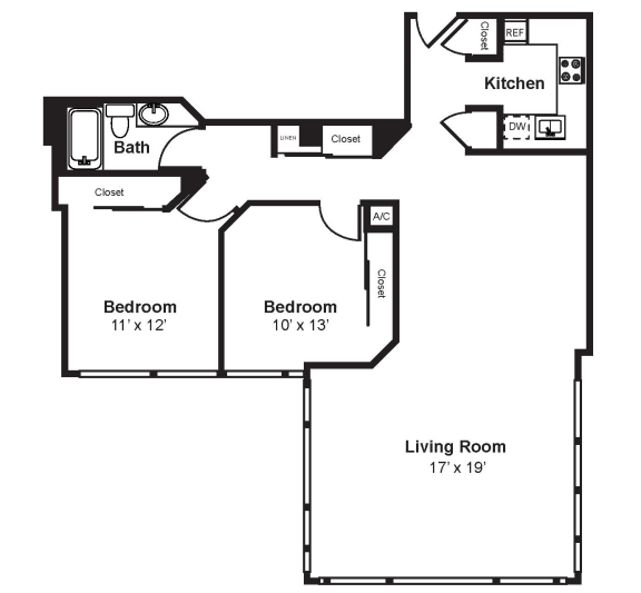 Floor Plan  C5_Dimension_V3 floor plan at Renaissance Tower, California, 90015