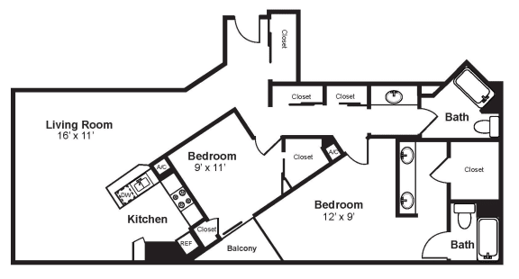Floor Plan  D3_Dimension_V3 floor plan at Renaissance Tower, California, 90015