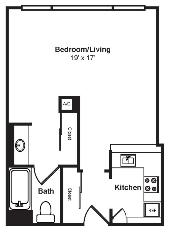 Floor Plan  S5_Dimensions_V3 floor plan at Renaissance Tower, Los Angeles, California