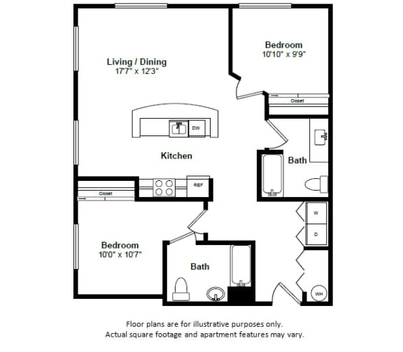 Floor Plan  St Martin floor plan at Tera Apartments, Kirkland, WA