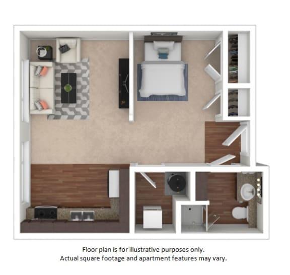 Floor Plan  Studio Efficiency 3D(1) floor plan at The District, CO, 80222