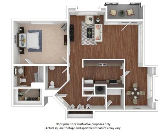 Floor Plan  1x1-5_19_761sf_3D floor plan at The District, Colorado, 80222