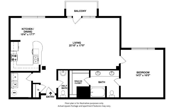 1x1-5_41A_1265sf floor plan at The District, 6300 E. Hampden Ave., 80222