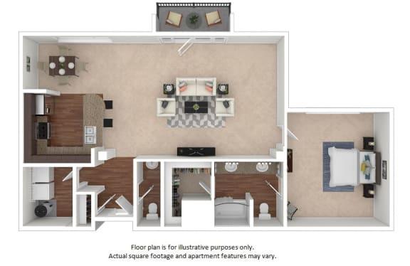 Floor Plan  1x1-5_41A_1265sf at The District, Colorado, 80222