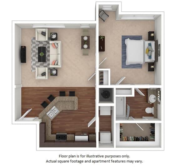 Floor Plan  1x1_13A_787sf_3D_123495_Print floor plan at The District, Denver, Colorado