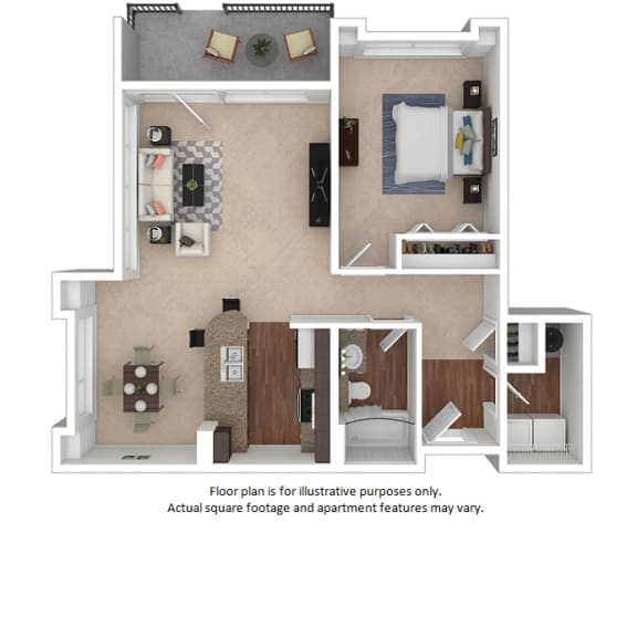 Floor Plan  1x1_15_761sf_3D_123495 floor plan at The District, Denver, CO