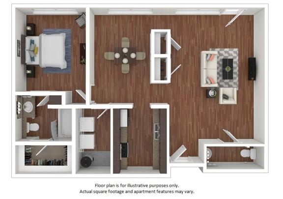 Floor Plan  1x1_18E_761sf_3D_123495 floor plan at The District, Denver, Colorado
