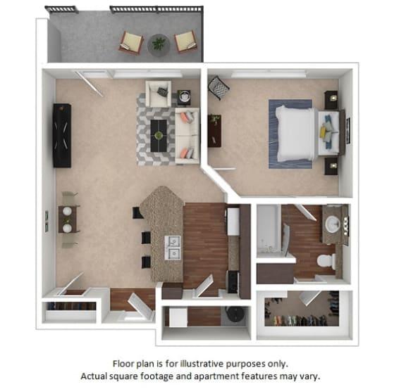 Floor Plan  1x1_1A_728sf floor plan at The District, 6300 E. Hampden Ave., 80222