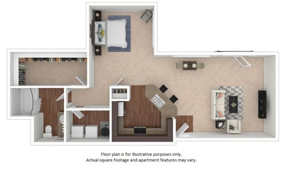 Floor Plan  1x1_22f_805sf floor plan at The District, CO, 80222