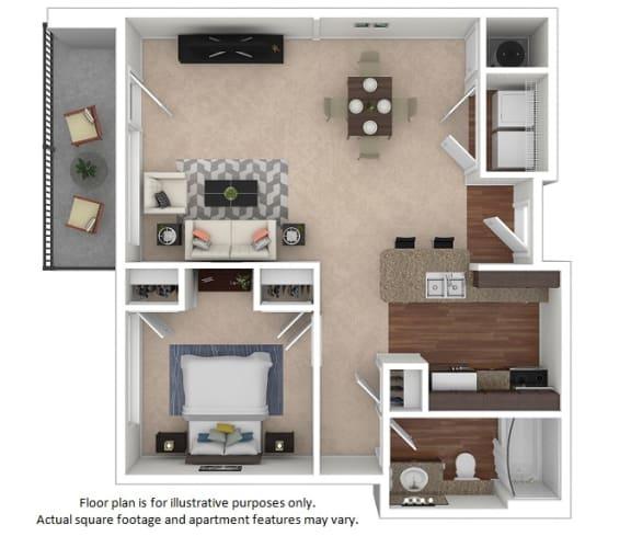 Floor Plan  1x1_24E_694sf floor plan at The District, Colorado, 80222