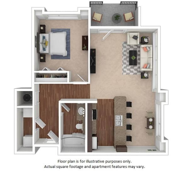 Floor Plan  1x1_26E_747sf floor plan at The District, CO, 80222