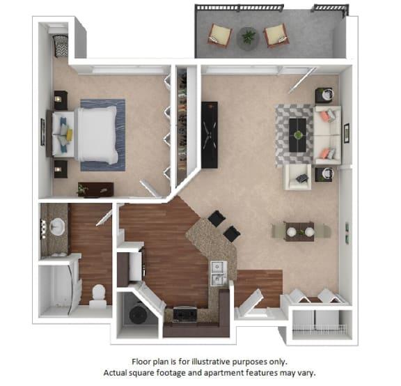 Floor Plan  1x1_27E_724sf floor plan at The District, Colorado, 80222
