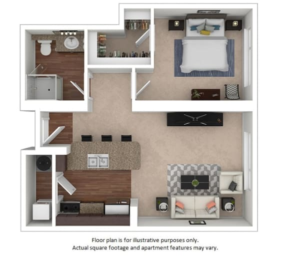 Floor Plan  1x1_30_595sf floor plan at The District, Denver, CO