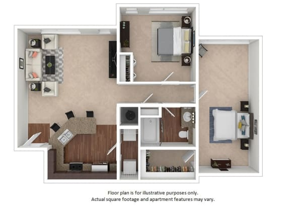 Floor Plan  2x1_13C_1058sf_3D_123495_Print floor plan at The District, Colorado, 80222