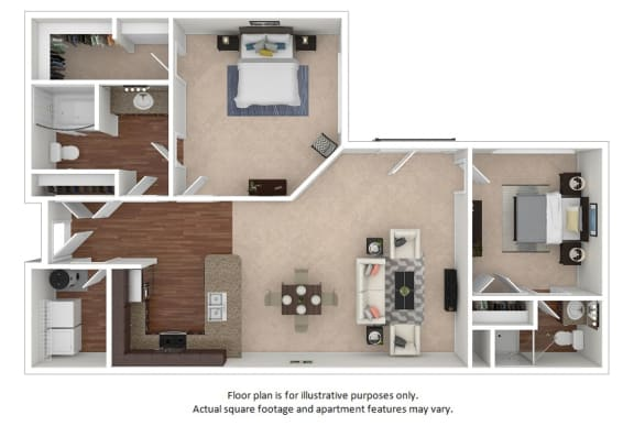 Floor Plan  2x1_20F_1114sf floor plan at The District, Denver, CO