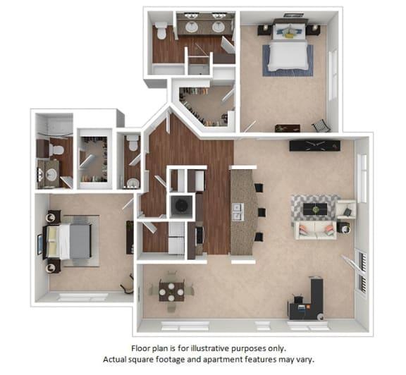 Floor Plan  2x2-5_8B_1576sf floor plan at The District, 6300 E. Hampden Ave., 80222