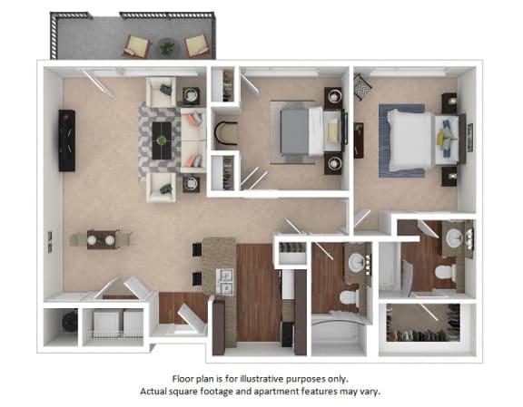 Floor Plan  2x2_23E_966sf floor plan at The District, Denver, Colorado