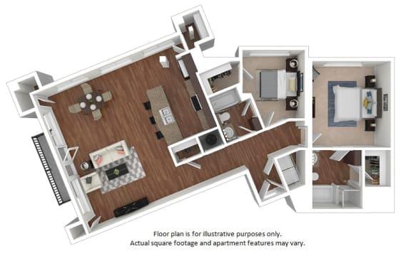 Floor Plan  2x2_28_1486sf floor plan at The District, 6300 E. Hampden Ave., 80222