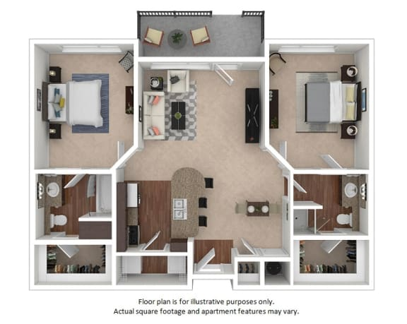 Floor Plan  2x2_3A_1026sf floor plan at The District, CO, 80222