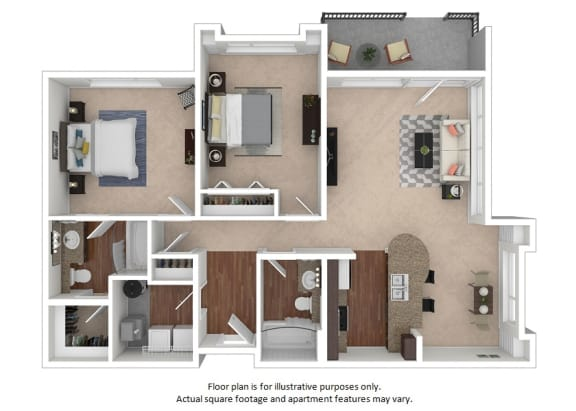 Floor Plan  2x2_6A_1072sf floor plan at The District, CO, 80222