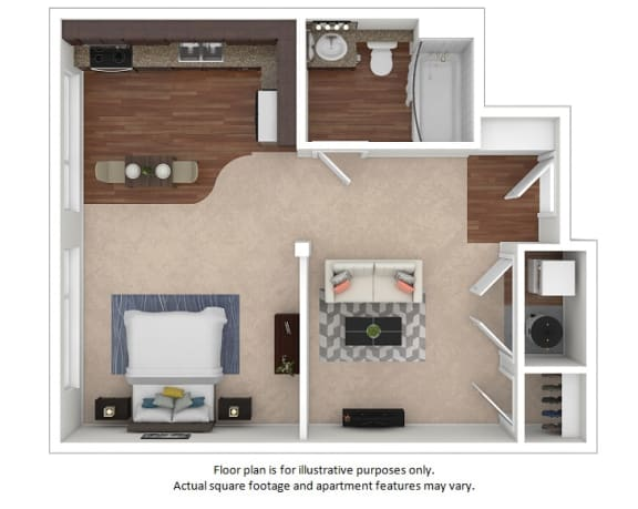 Floor Plan  Studio_14A_498sf_3D_123495_Print floor plan at The District, 6300 E. Hampden Ave., 80222