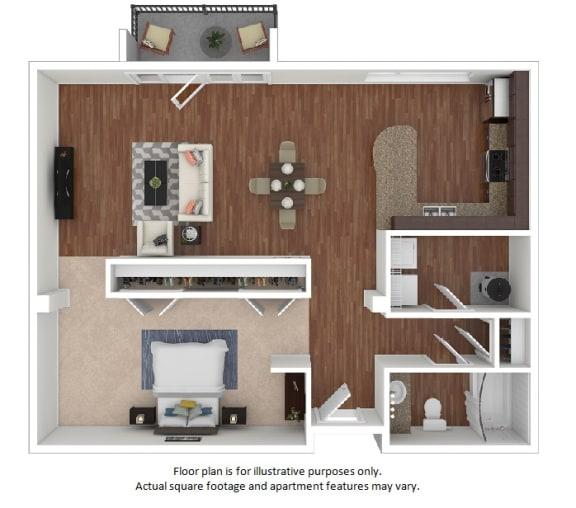 Floor Plan  Studio_40A_924sf floor plan at The District, Denver, Colorado
