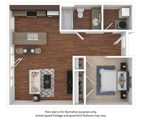 Floor Plan  Studio_42_569sf floor plan at The District, 6300 E. Hampden Ave., 80222