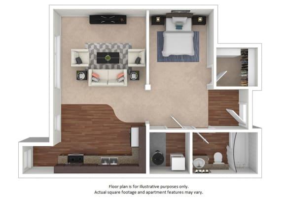 Floor Plan  Studio_9A_1087sf floor plan at The District, Denver, CO
