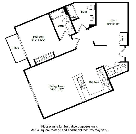 Floor Plan  Tobago floor plan layout at Tera Apartments, 528 Central Way, 98033