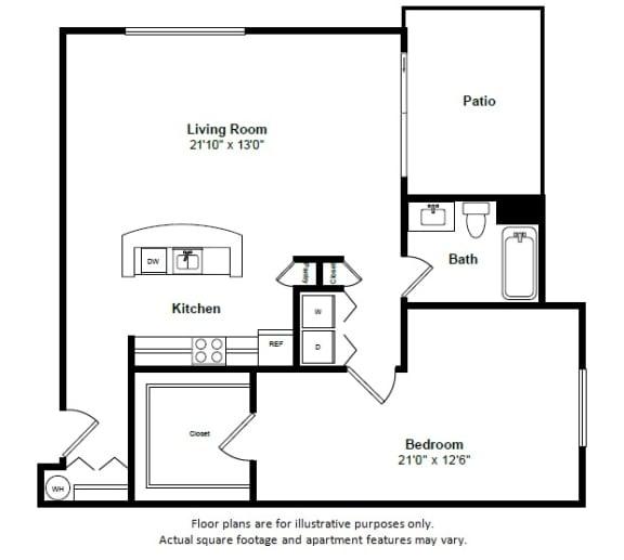 Floor Plan  Turks and Caicos floor plan at Tera Apartments, Kirkland, Washington