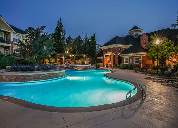 Pool at night at Windsor at Meadow Hills, CO, 80014