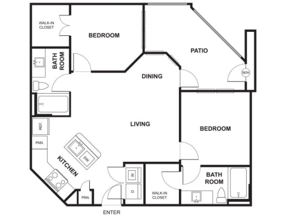 2 Bed 2 Bath Floor Plan at Windsor Ridge, Austin, TX