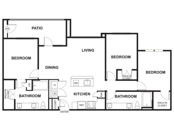3 Bed, 2 Bath Floor Plan at Windsor Ridge, Austin, TX