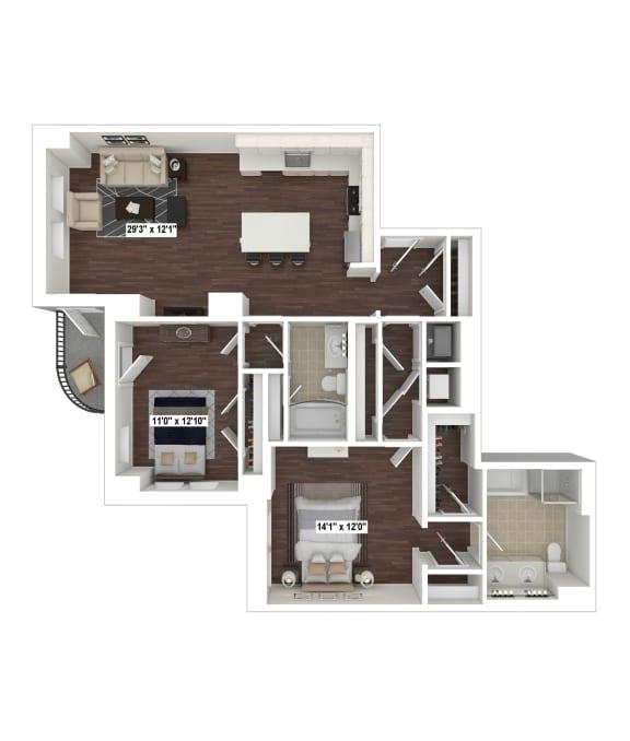 Floor Plan  B1(4) floor plan at The Woodley, Washington, DC
