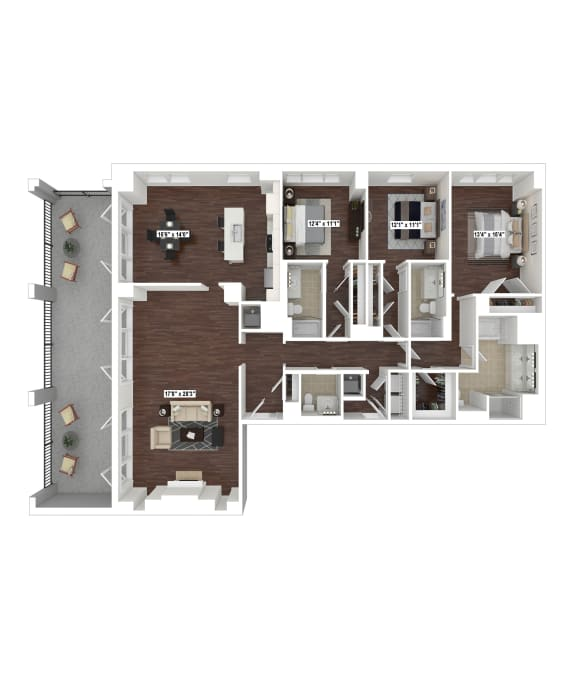 PH4 floor plan at The Woodley, Washington, DC 20008