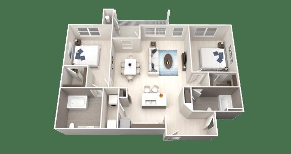 B7 Floor Plan at Ethos Apartments, Texas, 78744