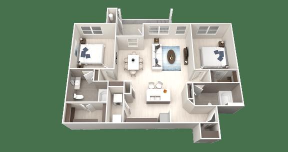 B8 Floor Plan at Ethos Apartments, Austin, TX, 78744