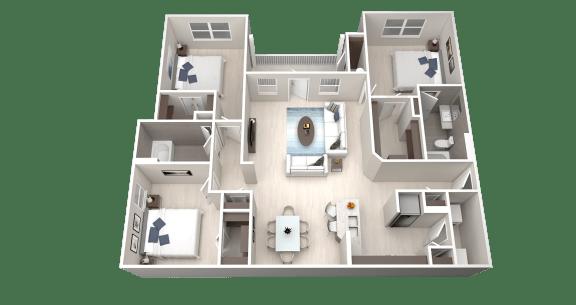 C1 Floor Plan at Ethos Apartments, Austin, Texas