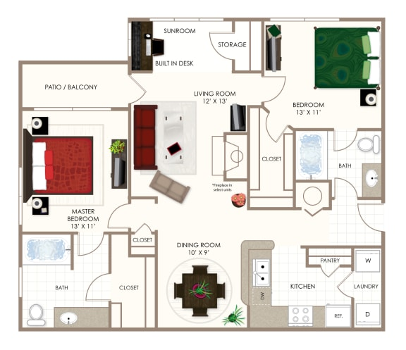 The Magnolia Two Bedroom Floor Plan at Summerwood on Towne Line, Indianapolis, IN