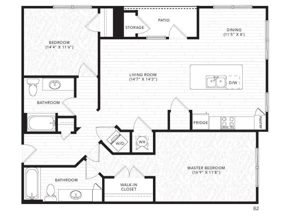 Floor Plan  B2 Floor Plan at The Darby, Holly Springs, GA