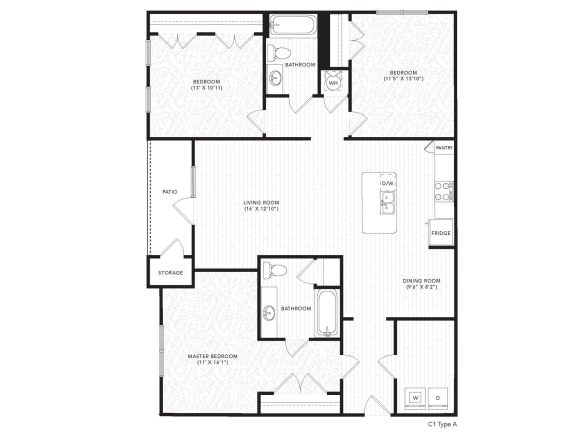 C1A Floor Plan at The Darby, Holly Springs, GA, 30115